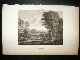 After C. Le. Lorrain C1810 Antique Print. Un Paysage, Landscape